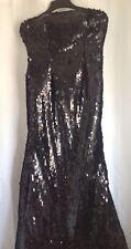 Stunning Full Length Sequin Black Dress - Size 6 - Bridesmaid / Prom / Evening