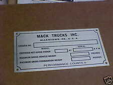 NOS Mack data plate for Vintage Truck Restoration