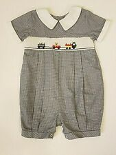 Boys CARRIAGE BOUTIQUES  Smocked Romper Navy/WHITE Choo-Choo TRAIN Sz 24m