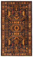 """Vintage Tribal Hand-knotted Carpet 3'9"""" x 6'6"""" Traditional Wool Rug"""