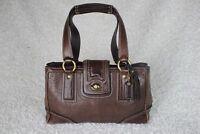 Coach Hampton Signature Leather Satchel Bag Hobo Turnlock Medium Brown Vtg 11330