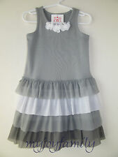 HANNA ANDERSSON Fizzie Fizzy Tulle Tiered Sundress Dress Mast Grey 110 5 NWT