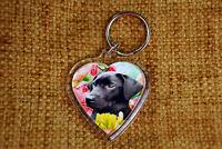 Labrador Gift Keyring Key Ring heart shaped Black Labrador Xmas Gift