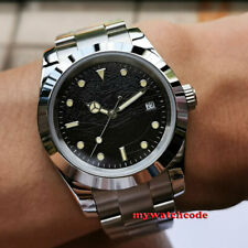 40mm bliger sterile black nest dial solid sapphire glass automatic mens watch