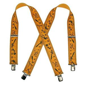 New CTM Men's Elastic Clip-End 2 Inch Tape Measure Suspenders