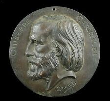 Médaille XIXe Crauk Gustave (1827-1905) le général Giuseppe Garibaldi medal 18cm