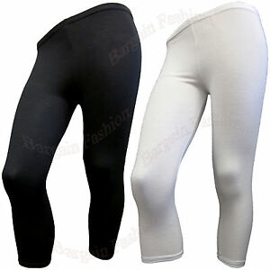 LADIES 3/4 LENGTH STRETCH FIT VISCOSE LEGGING IN BLACK & WHITE COLOURS Szs(8-16)