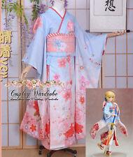 Fate stay night Saber Kimono Cosplay Costume Fate zero Floral Lolita Dress