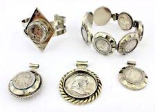 Schmuck Set Armreif Edelstahl Münzen Anhänger Silber Dollar Einzelanfertigung DM