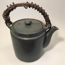 "Ceramic Glaze Teapot with Natural Wood Handle 8"" Tall"