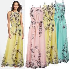 SEXY Women's Summer Dress Long Maxi Boho Floral Chiffon Evening Bridesmaid Party