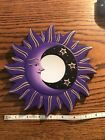 """MOON & STARS MIRROR 8"""" Hand Carved & Painted NEW PURPLE"""
