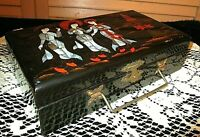 Vintage LINED JEWELRY BOX wHANDLE Chinese black lacquer Geisha girls PEARL INLAY