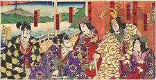 Genuine Original Japanese woodblock print Kunisada 3 Triptych
