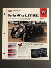 "1927-1931 Bentley 4-1/2 Litre IMP ""Hot Cars"" Spec Sheet Folder Brochure Awesome"