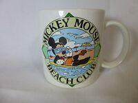 Rare Vintage Mickey Mouse Beach Club Coffee Mug Cup 1986 Walt Disney Production