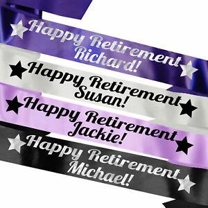 Personalised Retirement Sash Gift Idea Happy Retirement Pension Senior Leaving