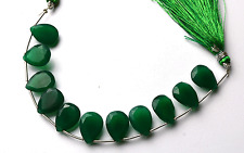 Natural GREEN Chalcedony PEAR SHAPE Briolettes Beads 14 TO 15 MM  6.5 INCH