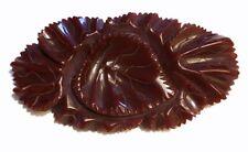 Vintage DEEP RED Carved CRANBERRY BAKELITE Leaf Floral Brooch PIN HUGE XL Leaves