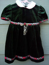 Rose Cottage Dress Sz 18 Months Holiday Picture Christmas Baby Girl Green Velour