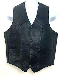 Vintage Leather King Mens Motorcycle Vest Black Snap Button Up Biker Size 44