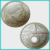 🍀Hindenburg 5 Mark 1938 E HK VF-F Silber 13956 Low Shipping Combine Free