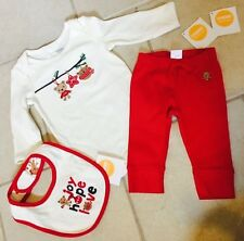 Gymboree NWT Baby Boy Girl 3-6 M Bib 3 piece Snuggle Bear Outfit Set Holiday