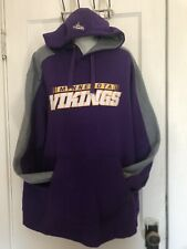 NFL Team Apparel Minnesota Vikings Logo Purple/Multi Gray Pullover Hoodie Sz XL