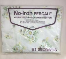 Springs Double Flat Sheet - Daisies/Floral - #1 Seconds - No-Iron Percale - USA