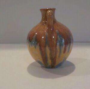 Vintage C.C. Cole North Carolina Art Pottery Jug Vase Early Drip Glaze Old NC
