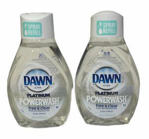 Dawn Platinum Powerwash Free & Clear Dish Spray Light Pear Scent Refill Lot Of 2