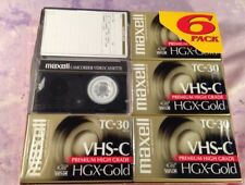 VHS-C Premium High Grade Camcorder Tapes 6 Maxell HGX Gold