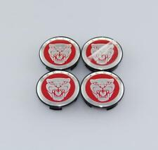 NEW SET OF 4 JAGUAR RED JAG WHEEL HUB CAPS LOGO RIM 59MM COVER EMBLEM CAPS