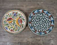 Two Vintage Studio Pottery Floral Plates To Include Italian & Turkish Example.