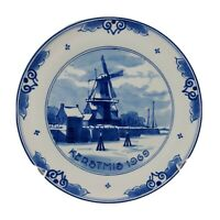 """Royal Delft Christmas Kerstmis Plate 1969~ Holland Windmill  Blue & White 6 1/2"""""""