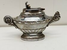 Vintage Silver Toned Metal Occupied Japan Genie Lamp Table Top Cigarette Lighter
