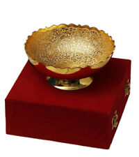 Indian Rajasthani Gold Plated Brass Bowl Home Kitchen Decorative With Box Gift