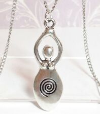 """GODDESS_Pendant on 18"""" Chain Necklace_Pagan Wiccan Spiral Venus Fertility_375N"""