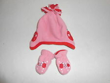 Baby Girls Clothes  0-3 Months - Cute Girl Next Winter Fleece Hat & Mitts
