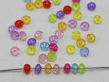 500 Mixed Colour Transparent Acrylic Faceted Rondelle Spacer Beads 4X6mm