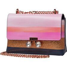 Ted Baker Womens Crossbody Bag Orchid Mosaic Stripe Mini Navy / Pink  RRP £128