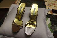 "Sandals, MANOLO BLAHNIK, brown leather thin strap 3 1/2"" thin heel, SZ: 39.5"