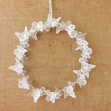 White Metal Butterfly Wreath Wire Wall Hanging Wedding Gift Home Decoration