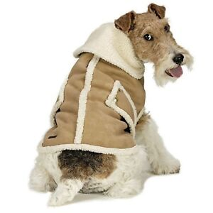 Dog Coat Faux Shearling Suede & Sherpa Fleece Winter Dog Coat Tan Ethical MEDIUM