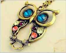 Beautiful New Gold and Colourful Long Crystal Owl Necklace Chain Pendant