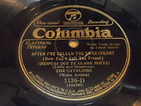 The Cavaliers / Eddie Thomas' Collegians 78 on Columbia 1136-D