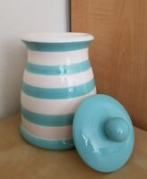"BRAND NEW GRACE'S PANTRY 10"" BLUE WHITE STRIPED CANISTER COOKIE JAR Home Decor"