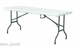 5FT FOLDING PLASTIC TABLE WITH CARRY HANDLE & FREE EXPRESS DELIVERY