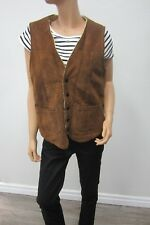 VTG JOO KAY-42-MED Suede Leather Vest Shearling Sherpa Lining Brown - USA Made