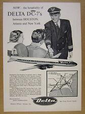 1956 Delta Air Lines Golden Crown DC-7 pilot plane route map vintage print Ad